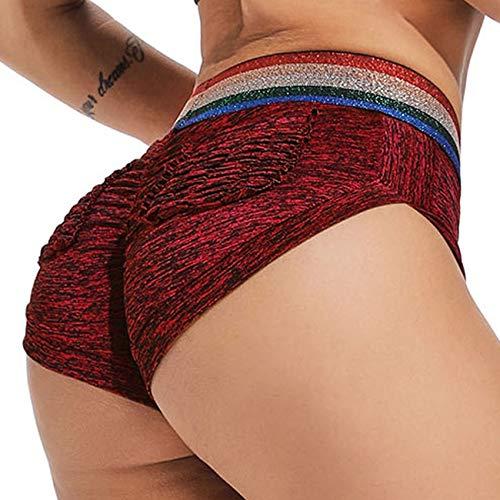 INSTINNCT Damen Shorts Sport Yoga Kurze Hose Sweatpants Laufshorts Training Gym Yoga Fitness Yoga B-rot mit Taschen S