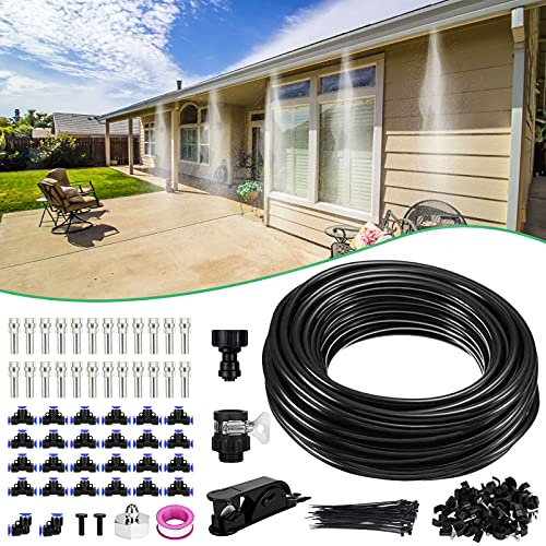 """XDDIAS Misting Cooling System for Patio, Misters for Outside, 59 FT(18M) PE Misting Line+24 Mist Nozzles+A Adapter(3/4"""") DIY Mister Cooling Kit for Outdoor Garden Trampoline Greenhouse"""