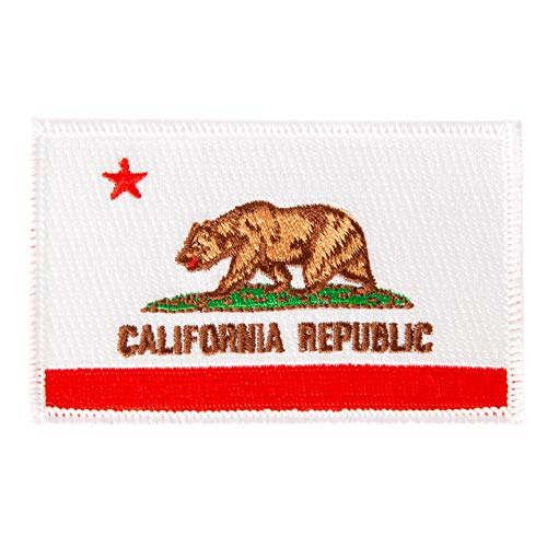 California Flag Patch 3.5 inch x 2.25 inch Iron On Sew Embroidered Tactical Backpack Hat Bags (Single Patch)