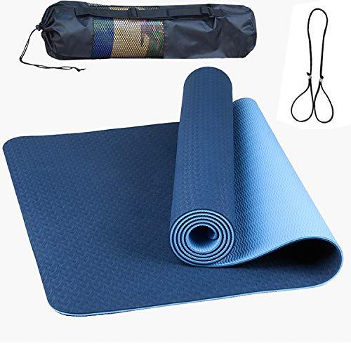 Yoga Mat, TPE Non-Slip Pro Yoga Mats for Women and All Yoga Lovers, Pilates&Floor Exercise (Bicolor Navy blue+Light blue)