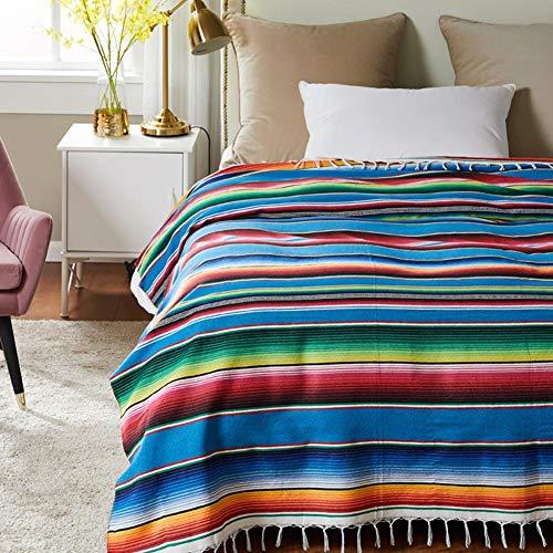 Cuckoo-X - Manta de algodón hecha a mano con estilo étnico en estilo indio mexicano, manta con forma de arcoíris, tapiz para el hogar, manta de playa, manta de picnic, azul, lake blue 130*170