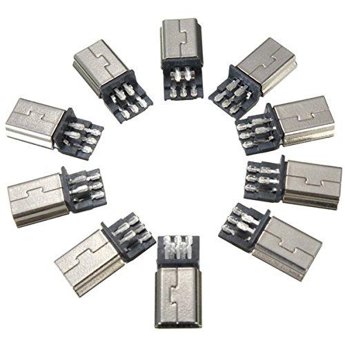 MYAMIA 10Pcs Mini USB 5Pin Männliche SMT SMD Stecker Löt Stecker Metallsteckdose