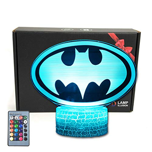 MARZIUS Cartoon Bat Logo 3D Illusion Night Light,Smart 16 Colors Table Lamp with Lighted Base & Remote Control for Batman Gift