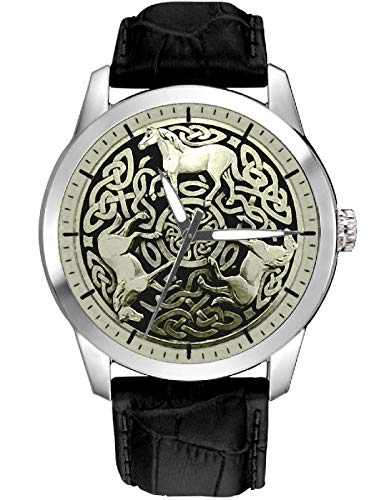 Beautiful Ancient Celtic Horses Gaelic Art Parchment DIAL Collectible 40 mm Wrist Watch in SILVERED Brass