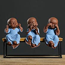 ZLBYB Buddha Statues Purple Sand Ceramic Ornaments Home Decoration Pottery Tea pet Monk Three-no Figurines handcrafts (Siz...