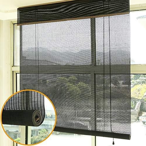 Duo Rollo Schwarze Rollläden für Wohnzimmer / Balkon, 50% Lichtfilternde Sonnenjalousien mit Flachem Volant und Seitlichem Zug, Einfach, Eine Vielzahl Von Wohnstilen Zusammenzubringen