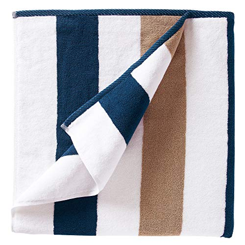Oversize Plush Cabana Towel by Laguna Beach Textile Co | 1 Classic, Beach and Pool House Towel… (Ocean Blue & Almond)