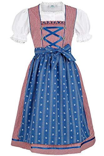 Isar-Trachten Vestido para niña de color rojo y azul con blusa, rojo
