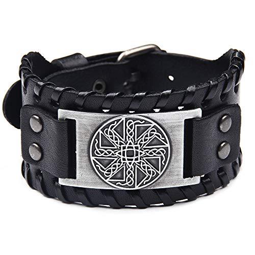 Viking Bracelet Adjustable Bangle - Mens Leather Bracelet Handmade with Nordic Amulet - Celtic Pagan Jewelry of Talisman (Kolovrat Silver)