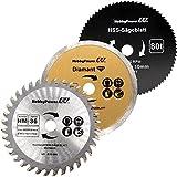 Mini scie circulaire à main Lot de 3Lame de scie HM bois/bois HSS Fein/Disque de coupe diamant 85x 10mm Convient pour Aldi Duro/Lidl/Norma