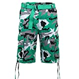 Victorious Men's Belted Ripstop Twill Camo Cargo Short DS2065 - Green - 38 - V-J31