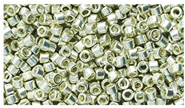 Miyuki Delica Seed Bead 11/0 DB035, Metallic Silver Galvanized, 9-Gram/Pack