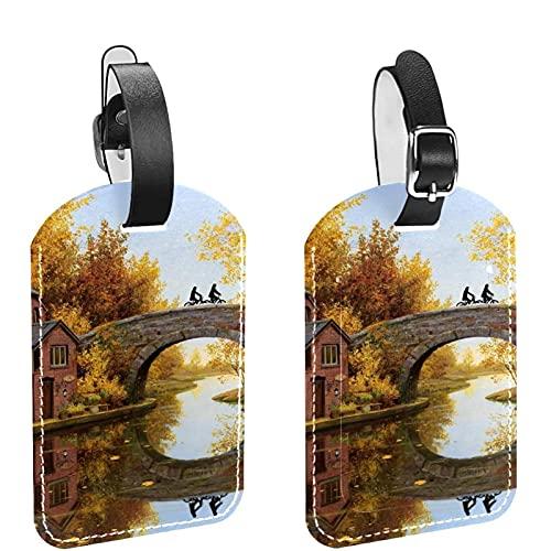 Autumn Field Bridge Landscape River 2 PCS Etiqueta de identificación de equipaje Etiquetas de maleta de viaje Etiquetas de equipaje para evitar la pérdida de bolsos y maletas