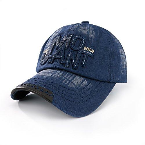 4sold - Gorra de béisbol casual con letras, parte trasera con broche de ajuste Azul JMO Azul Taille unique