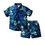 Agoky Camisa Hawaiana de Manga Corta para Niños y Pantalones Cortos de Ocio de Verano Conjunto de Ropa de Vacaciones en La Playa 1-5 Años Azul oscuro 120cm