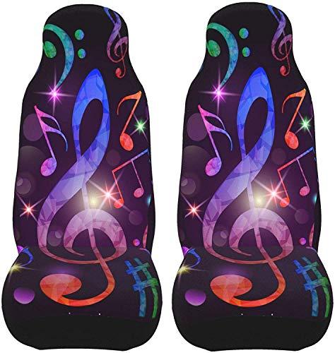 Abstract Fantasy Music Notes Juego de 2 fundas para asientos de coche, asientos delanteros, solo para coches, manta de sillín delantero, ajuste universal para vehículo, sedán, SUV y camión, interior