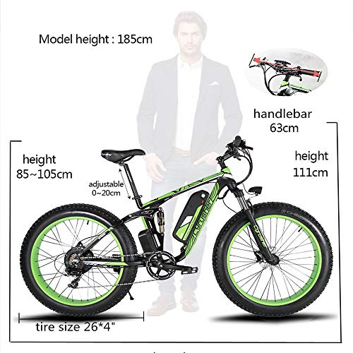 Cyrusher XF800 750W Electric Mountain Bike 26inch Fat Tire e-Bike Shimano 7 Speeds Beach Cruiser Mens Sports Mountain Bike Full Suspension,Lithium Battery Hydraulic Disc Brakes(White)