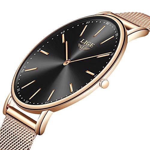 LIGE Herren Uhren Mode Wasserdicht Sport Analoger Quarz Uhr Beiläufig Ultra-Thin Dial Schwarze Edelstahl Mesh Armbanduhr Maenner (Roségold schwarz)