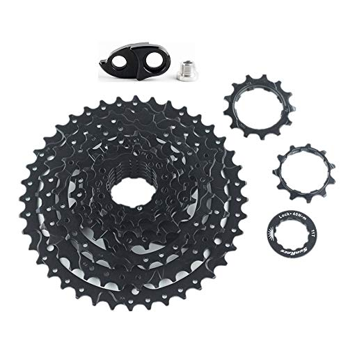 TLBBJ Bicycle flywheel CSM680 8 Speed 11-40T Black/Silver Bike Cassette fit Flywheel Adapter Bicycle Accessories (Color : Black with Adapter)