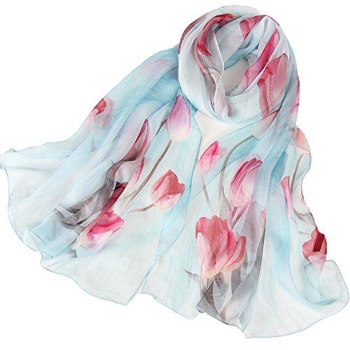 LD Seidenschal Damen 100% Seide Schal Tuch Leicht Seidentuch Hautfreundlich Geschenk für Frauen 175 X 65cm (Blau) MEHRWEG