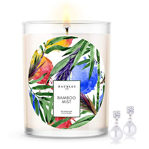 Kate Bissett Baubles Bamboo Scented Premium Candle and Jewelry with Surprise Earring Inside | 18 oz Large Candle | Made in USA | Parrafin Free