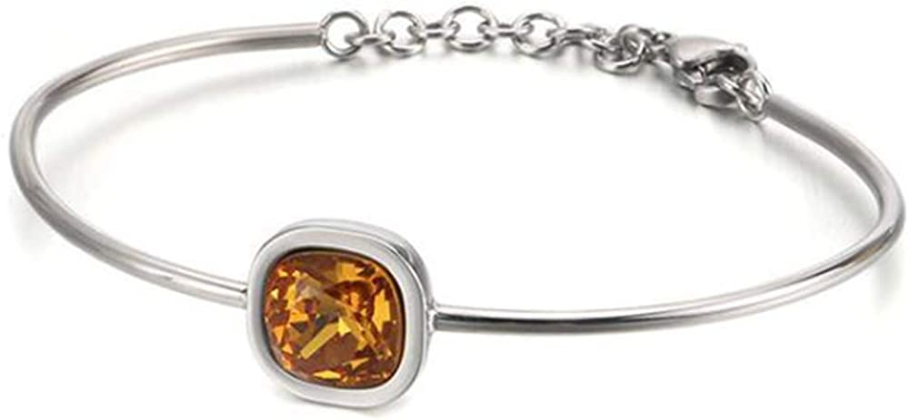 Jude Jewelers Stainless Steel Square Cut Austrian Crystal Birthstone Bead Cocktail Party Wedding Bangle Bracelet