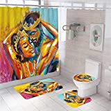 King and Queen Badezimmer-Sets mit Teppichen & Zubehör, Kunst-Öl, afrikanisches Paar, Duschvorhänge für Badezimmer, Dekoration, wasserdicht, langlebig, afrikanische amerikanische Duschvorhang-Sets