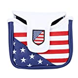 DAUERHAFT USA Stars and Stripes Golf Mallet Putter Head Cover, Sunscreen Golf Putter Covers, Golf Putter Protection Headcover, para Proteger la Cabeza de Golf(Small square/13 * 11 * 3cm)