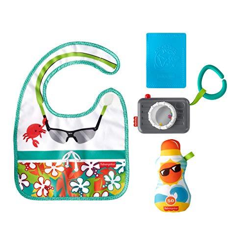 Fisher-Price GKC50 - Reise Spaß Rassel- und Knisterset, 4 Spielzeuge für Babys, Baby Spielzeug ab 3 Monaten