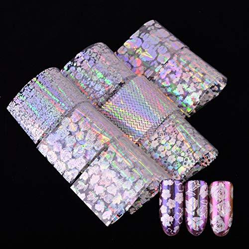 QSDFG 8pcs / Set Transparent Coloré Papier Ongles Feuille Rose Stripe Fleur DIY Laser Glitter Nail Autocollant Adhésif