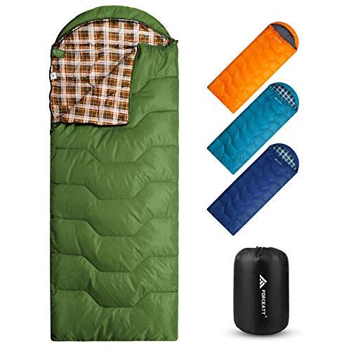 Forceatt Saco de Dormir Rectangular para Acampar, para 3-4 estaciones , con Bolsa de compresión y Capucha para Viajes, Camping, Senderismo,215 x 80 cm, Temperatura Ideal 0-20°C