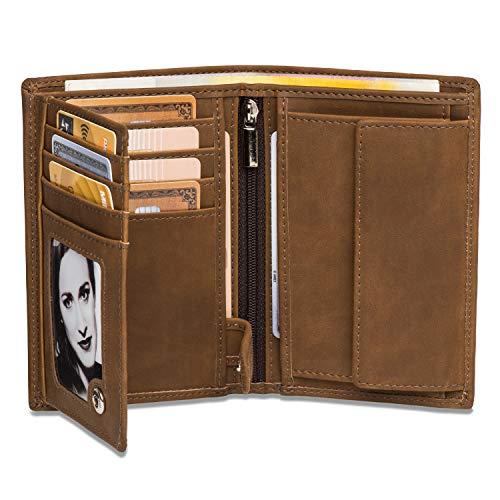 Noah Noir® Geldbeutel Hochformat - TÜV geprüfter RFID Schutz - Großes Münzfach Herren - Geldbörse groß mit Edler Geschenkbox - Moose (Braun)