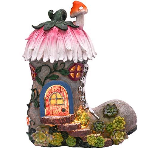 TERESA'S COLLECTIONS 22cm Garten Deko Solar LED Stiefel Feenhaus Kunstharz Gartenfigur für außen Elfenhaus für Ihren Feengarten Frühling & Sommer