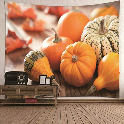 Aimsie Tapiz de pared con diseño de calabaza y bosque de poliéster, color naranja, 260 x 240 cm