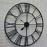 Wanduhr, Wall Clocks 80 cm Haushalt Wanduhren Moderne 3D Große Retro Schwarz Eisen Kunst Hohl Wanduhr Römischen Ziffern Wohnkultur