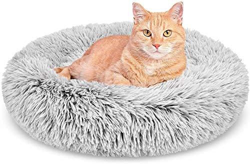Cama de peluche para perro, redonda, calmante y calmante para mascotas, sofá suave para cachorros, parte inferior antideslizante, lavable a máquina, L-26.7 x 7.9 pulgadas, color gris
