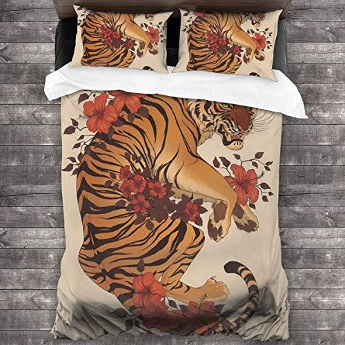 LISUMAL Bedding Bettwäsche,Weinlese vergilbte Kunstbild eines gelben Tigers und der roten Blume,Bequem Bettwäsche 240x260cm mit Kopfkissenbezug 2(50x80cm)