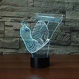 Regalos para los hombres lindo caracol Shell 3D noche luz LED ilusión bebé dormitorio lámpara USB lámpara de mesa color cambiante lámpara decoración del hogar erjie