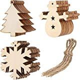 Tatuo 30 Pieces Christmas Wooden Cutouts Embellishments Hanging Ornaments with Christmas Tree Snowman Snowflake Patterns and 30 Pieces of Natural Twine, 3 Shapes
