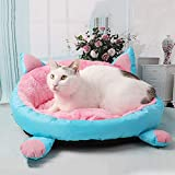 SANON Dog Cat Round Donut Bed Puppy Kitten Soft Round Bed with Anti-Slip Waterproof Bottom Cushions Sofa for Small Dogs Cats - Pink+ Blue