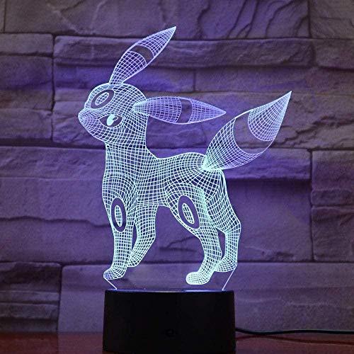 Pokemon go umbreon figura luz de noche 3D luz de ilusión LED transformación colorida decoración familiar creativa niños regalo de cumpleaños de Navidad juguete