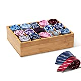 GOBAM Closet Drawer Organizer,Drawer Divider and Storage Box for Ties Bras Briefs Socks, Compartments of 15,Natural Bamboo