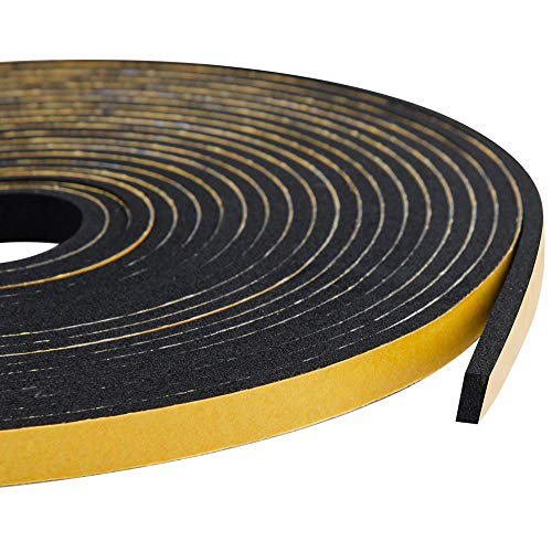 Adhesive Foam Tape-3 Rolls, 1/4 Inch Wide X 1/8 Inch Thick High Density Sound Proof Insulation Closed Cell Foam Seal Weather Stripping for Doors and Windows Total 59 Feet Long(19.7ft x 3 Rolls)