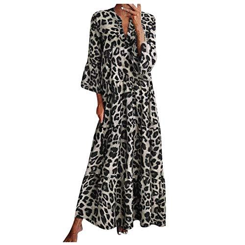 Vestido Largo Largo para Mujer con Cuello en V y Mangas Acampanadas Estampadas para Mujer, Vestido de Fiesta...