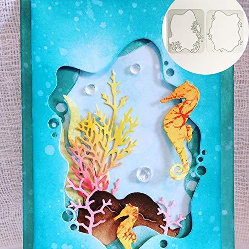 WOZOW Stanzschablone Scrapbooking Stanzmaschine Prägeschablonen Schneiden Stanzformen Schablonen für Sizzix Big Shot und andere Prägemaschine (E Koralle Unterwasserwelt)