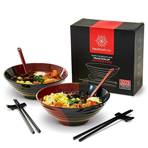 Healthy Body Ramen Bowl Set - 2X (8 Piece) Melamine Dish Set Ramen Bowl Asian Cookware Matching Gift/Storage Box 37oz Bowl/Large Spoon/Chopsticks and Holders