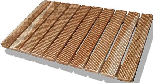 Castelmerlino Tarima para ducha en madera de alerce con listones atornillados 49x79 cm para platos de ducha 70x100