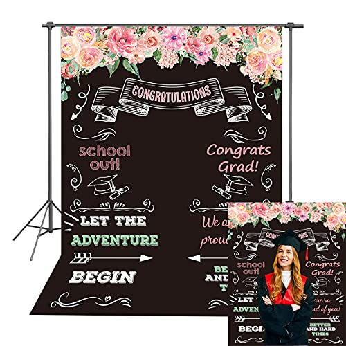 DANIU 1,5 x 1,5 m Gratulacja impreza Tło klasa Gratratatów Grad Kwiatowa tablica do szkoły studniówki tło dekoracja stołu deserowego baner sesja zdjęciowa (2,1 m x 1,5 m)