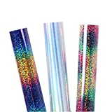 Sunice 3 Assorted Colors Adhesive Sheet 12'x20' Heat Transfer Bundle Vinyl HTV Vinyl Roll Iron on Fabric Stickers -Rainbow,Laser Silver,Multi-Colors
