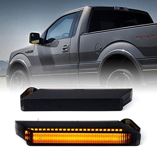 Xprite Amber LED Side Mirror Turn Signal Light Sequential Smoke Lens Blinker Marker Lights Assembly Compatible with Ford F-150 Raptor, Expedition, Lincoln Mark LT Pickups Trucks - One Pair